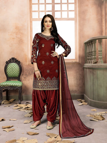 Designer Partywear Red Color Taffeta Silk Embroidered Patiala Suit