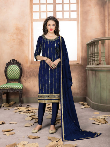 Designer Partywear Blue Color Art Silk Real Glass Work Straight Cut Suit