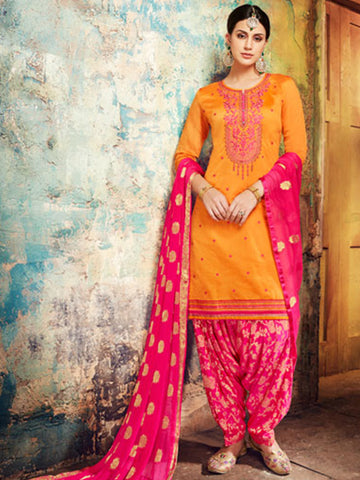 Designer Partywear Yellow Color Chanderi Silk Embroidered Patiala Suit
