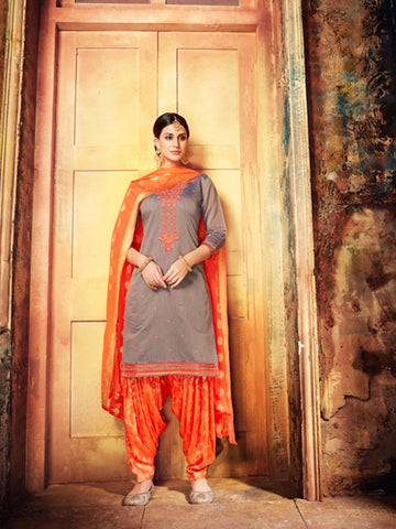 Designer Partywear Brown Color Chanderi Silk Embroidered Patiala Suit