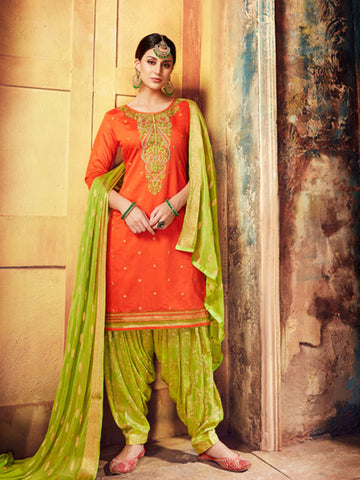 Designer Partywear Orange Color Chanderi Silk Embroidered Patiala Suit