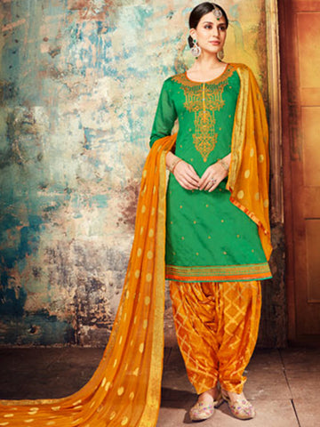 Designer Partywear Green Color Chanderi Silk Embroidered Patiala Suit