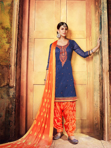 Designer Partywear Blue Color Chanderi Silk Embroidered Patiala Suit
