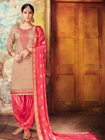 Designer Partywear Grey Color Chanderi Silk Embroidered Patiala Suit