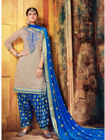 Copy of Designer Partywear Grey Color Chanderi Silk Embroidered Patiala Suit
