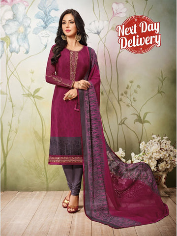 Beautiful Zari and Resham Embroidered Pink Color Suit with Chiffon Dupatta