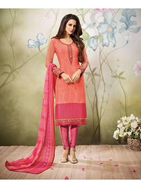 Beautiful Zari and Resham Embroidered Orange+Pink Color Suit with Chiffon Dupatta