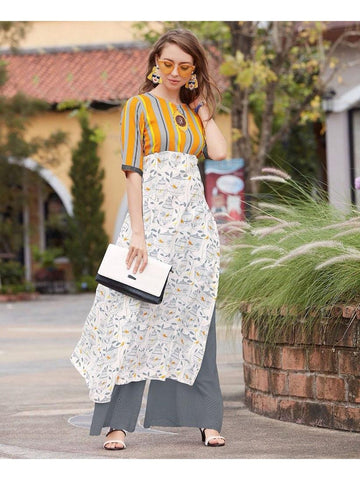 White and Yellow Rayon Cotton Kurti