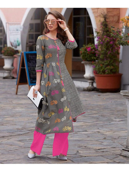 Grey Rayon Cotton Kurti