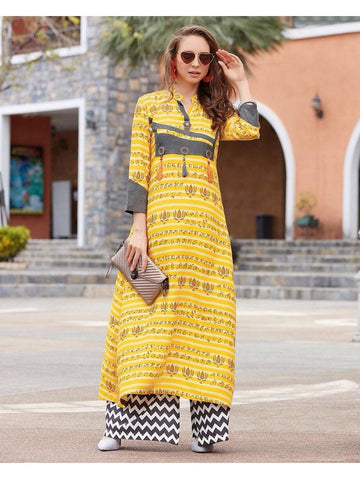 Yellow Rayon Cotton Kurti