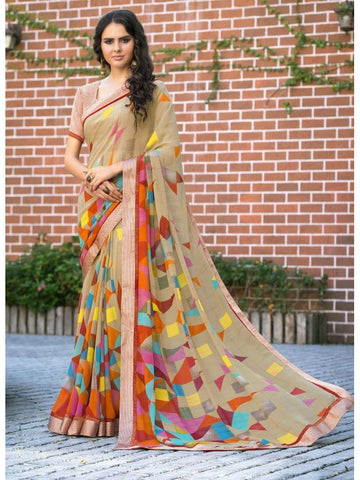 Stunning Look Printed and Satin lace border Beige Saree