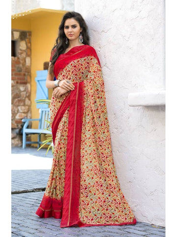 Stunning Look Printed and Satin lace border Cream Saree