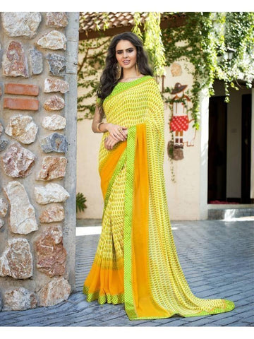 Stunning Look Printed and Satin lace border Yellow Saree