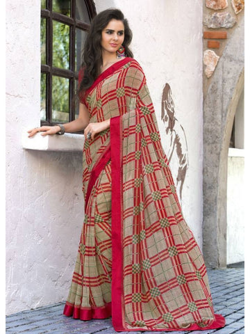 Stunning Look Printed and Satin lace border Cream+Red Saree