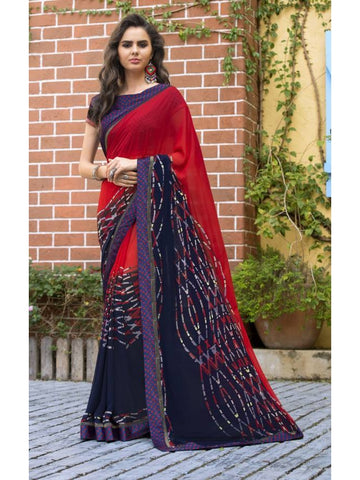 Stunning Look Printed and Satin lace border Red+Navy Blue Saree