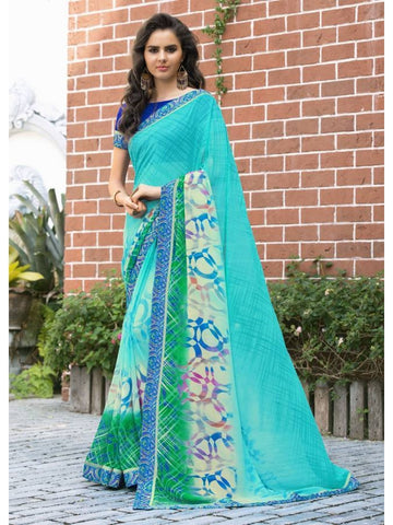 Stunning Look Printed and Satin lace border Sky Blue Saree