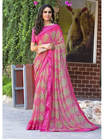 Stunning Look Printed and Satin lace border Pink+Cream Saree