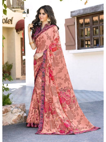 Stunning Look Printed and Satin lace border Peach Saree
