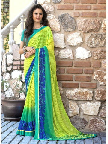 Stunning Look Printed and Satin lace border Yellow+Green Saree