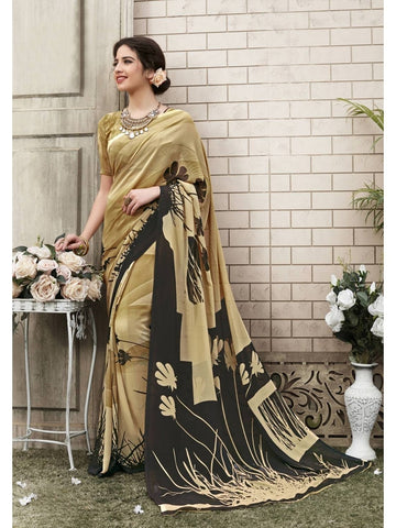 Beautiful Khaki & Black Georgette Printed Saree