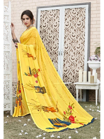Beautiful Yellow Georgette Printed Saree