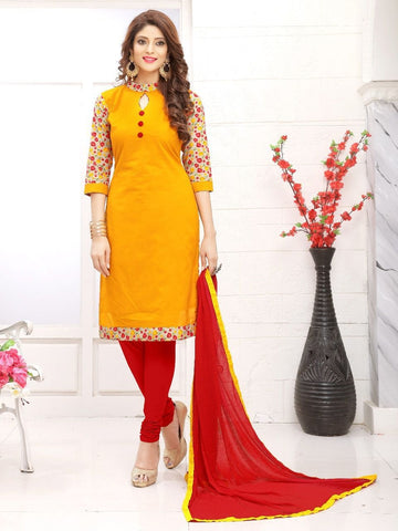 Designer Printed Yellow and Red Cotton Suit