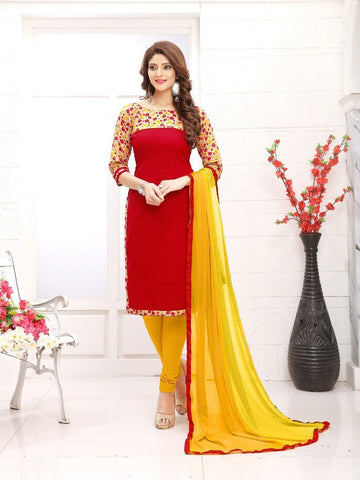 Designer Printed Red and Yellow Color Cotton Suit