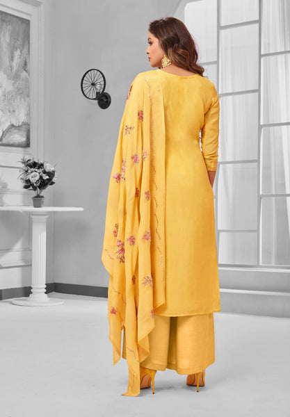 Mustard Pure Maslin Silk Embroidered Straight Cut Suit