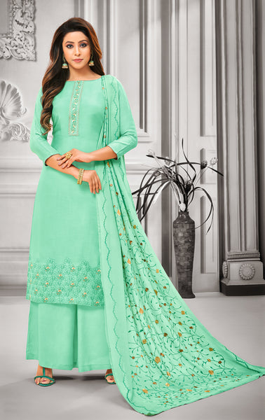 Aqua Pure Maslin Silk Embroidered Straight Cut Suit