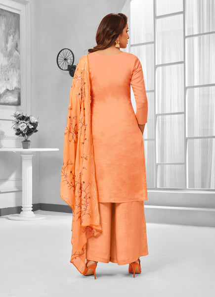 Coral Pure Maslin Silk Embroidered Straight Cut Suit