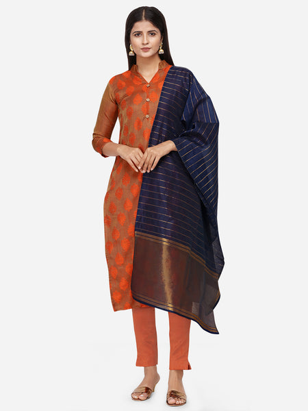 Brown Color Satin Cotton Weaving Printed Straight Cut Suit