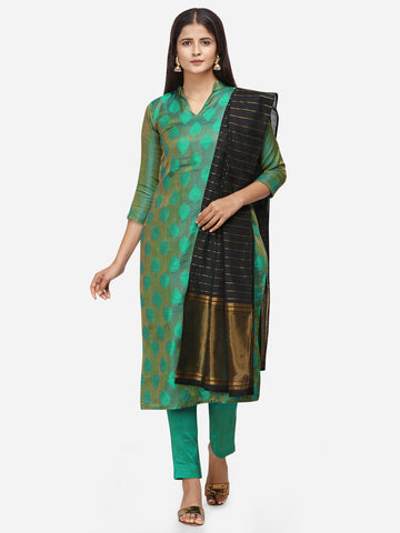 Green Color Satin Cotton Weaving Printed Straight Cut Suit