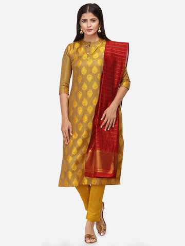 Mustard Color Satin Cotton Weaving Printed Straight Cut Suit