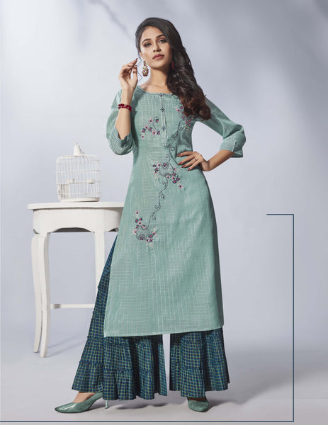 Light Turquoise Color Straight Cut Kurti with Palazzo