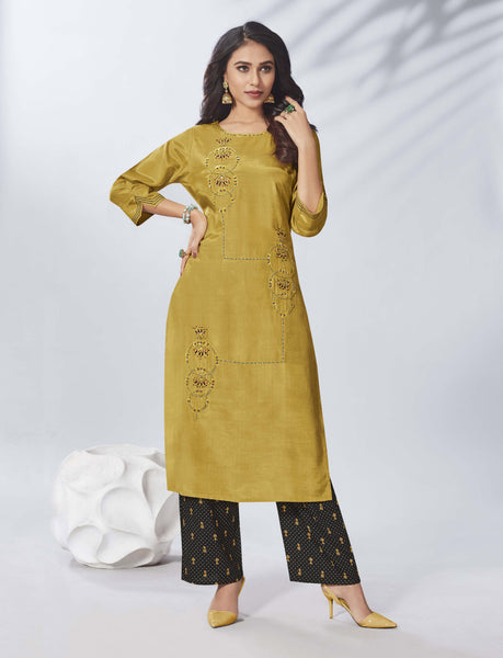 Mustard Color Straight Cut Kurti with Palazzo
