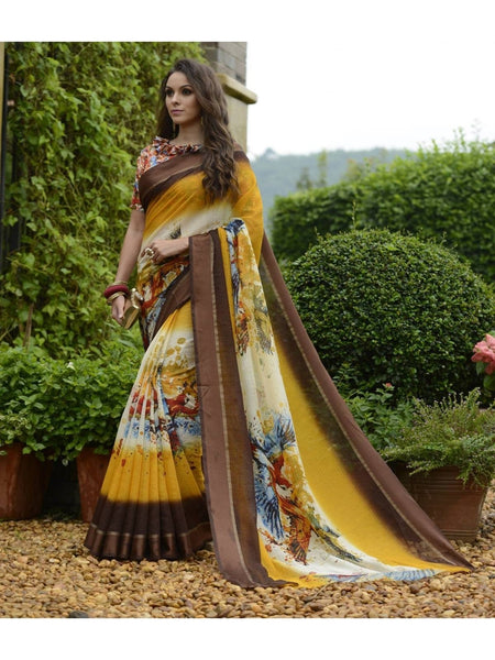 Beautiful Mustared & Brown Chanderi Silk Printed Saree
