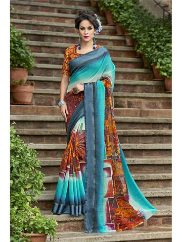 Beautiful Sky Blue & Orange Chanderi Silk Printed Saree
