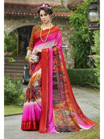 Beautiful Pink Chanderi Silk Printed Saree