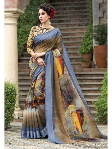 Beautiful Beige & Grey Chanderi Silk Printed Saree