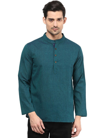 Men's Ethinc Short Teal Color Kurta