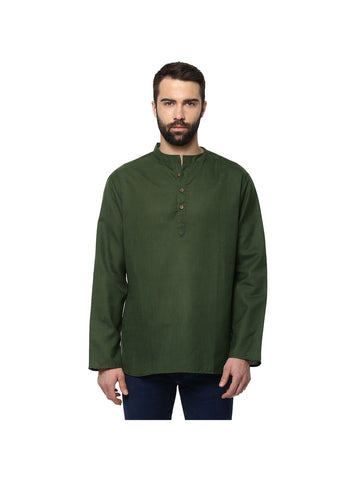 Men's Ethinc Olive Color Short Kurta