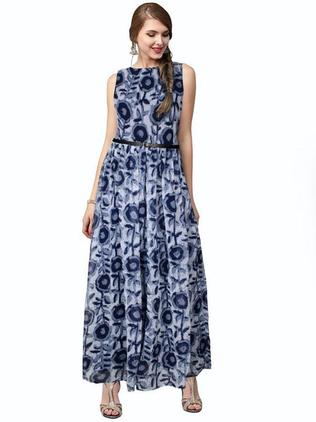 Beautiful Printed Blue Color Georgette Dresses