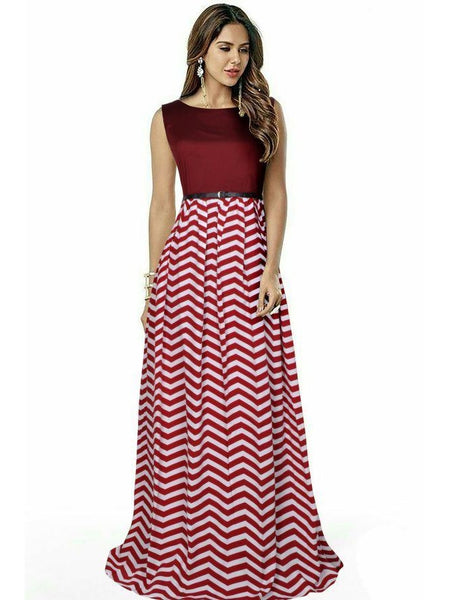 Beautiful Printed Maroon Color Taffeta Dresses