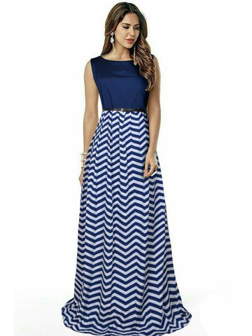 Beautiful Printed Blue Color Taffeta Dresses