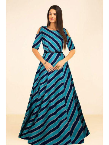 Beautiful Printed Blue Color Banglori Satin Silk Dresses