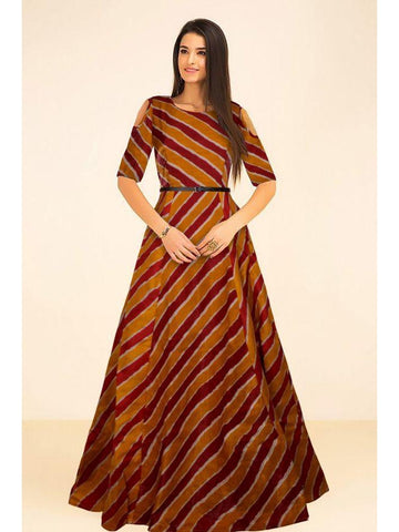 Beautiful Printed Moroon Color Banglori Satin Silk Dresses