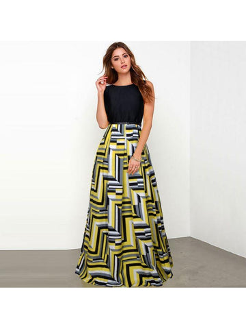 Beautiful Printed Yellow Color Taffeta Dresses