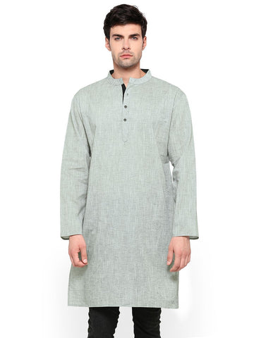 Men's Ethinc Mid Length Light GreyColor Kurta