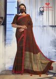 Designer and Beautiful Jute Linen Saree with Mask