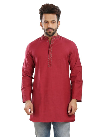 Men's Ethnic Mid Length Red Color Kurta